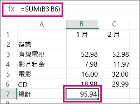 [自動加總] 範例顯示結果