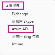 顯示 Office 365 [系統管理] 功能表。 選擇第三個選項 - Azure AD。