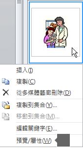 使用 [預覽/屬性] 命令查看較大版本的影像,以及圖片的其他詳細資料。