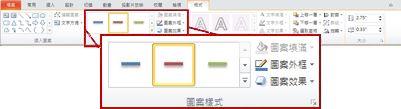 在 PowerPoint 2010 中,[繪圖工具] 底下的 [格式] 索引標籤。