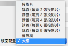 選取 [列印] 對話方塊中的 [大綱] 版面配置