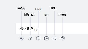 Emoji、GIF、貼圖和其他選項