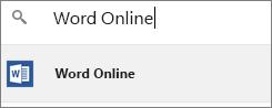 在 [應用程式啟動器] 搜尋方塊中鍵入 Office Online 程式的名稱以新增至 Chrome。