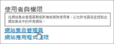在 [使用者與權限下醒目提示的網站集合管理員