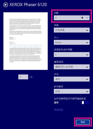 Windows 8 閱讀程式印表機選項