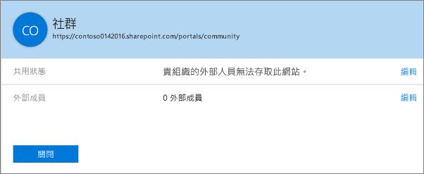 關閉特定網站集合 [共用狀態] 對話方塊的共用功能。