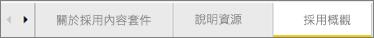 使用儀表板底部的索引標籤來瀏覽至不同頁面