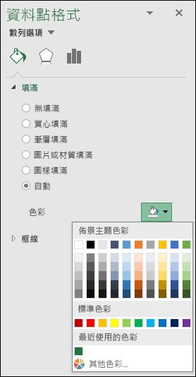 類別圖表的 Excel 地圖圖表色彩選項