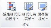 [常用] 索引標籤上的 [樣式] 群組