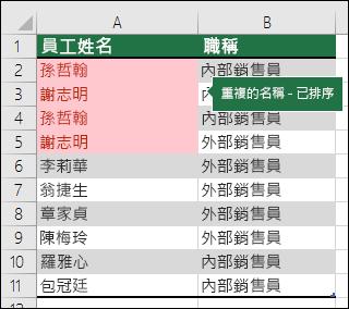 將 [重複的值] 排序至清單頂端的條件式格式設定