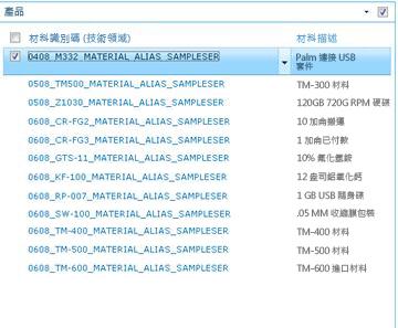 產品網站顯示 SAP 庫中的產品清單。