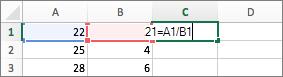 在公式中使用兩個儲存格參照的範例