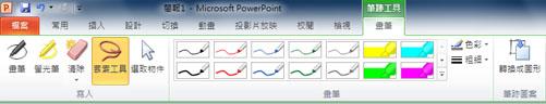 PowerPoint 2010 功能區的 [筆跡工具] 底下之 [格式] 索引標籤上的 [套索] 工具