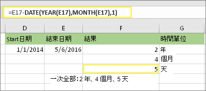 "=DATEDIF(D17,E17,""md"") 且結果為:5"