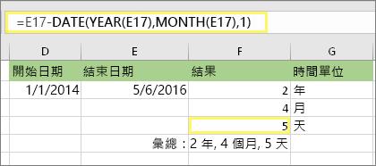 """=DATEDIF(D17,E17,""""md"""") 且結果為:5"""