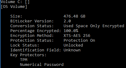 Figure 1 Sample output of an operating system volume protected by both TPM protector and RecoveryPassword protector