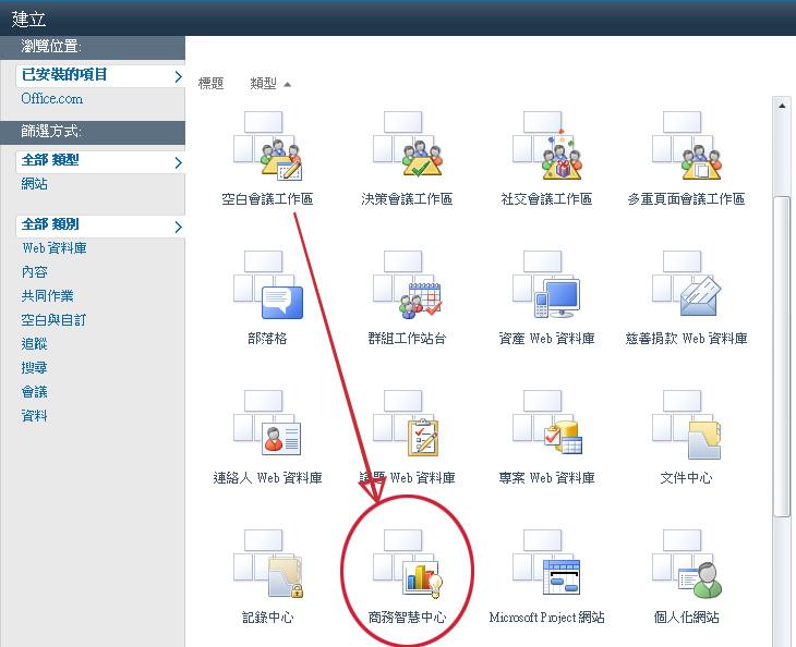 [建立網站] 庫提供許多預先建立的網站範本。