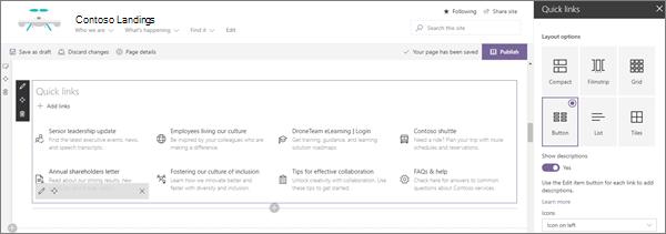 SharePoint Online 中現代企業登錄網站的快速連結網頁元件輸入範例
