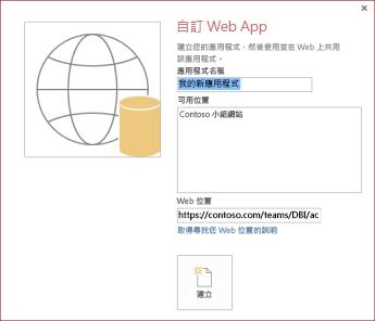 新自訂 Web 應用程式的對話方塊,並在 [可用位置] 方塊中顯示 Contoso 小組網站。