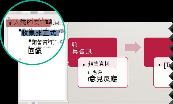 在圖形左邊的文字編輯器中輸入, 以輸入圖形的文字。