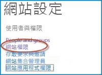 [網站設定] 頁面上選項集合的螢幕擷取畫面,其中顯示 [人員與群組] 連結