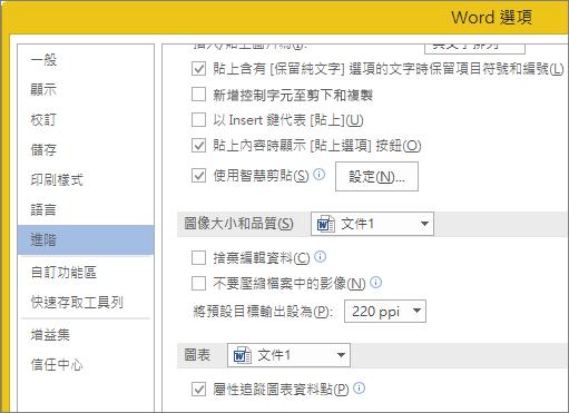 在 Word 中的影像大小和品質選項