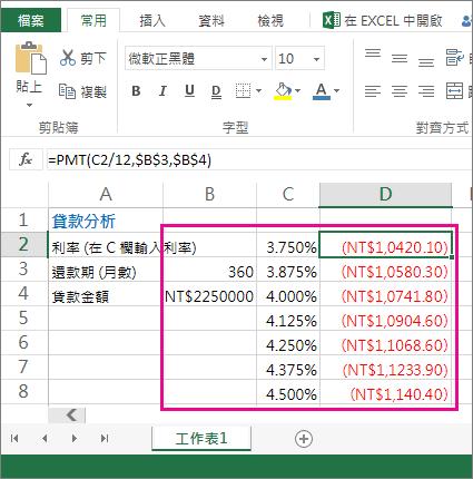 這個儲存格範圍 (B2:D8) 就是一個運算列表