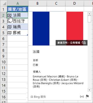 含有 [法國] 連結記錄的儲存格;按一下圖示的游標;已顯示卡片