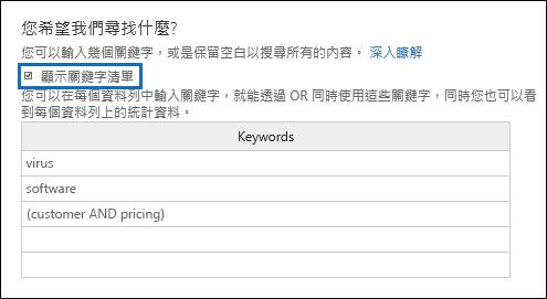 您可以在關鍵字] 清單中的資料列中輸入關鍵字或關鍵字階段