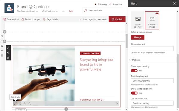 SharePoint Online 中的新式品牌網站中的範例英雄網頁元件