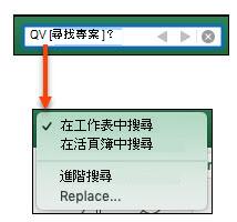 啟用搜尋欄後,按一下放大鏡以啟用 [其他搜尋選項選項> 對話方塊