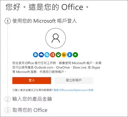 顯示 setup.office.com 開啟頁面