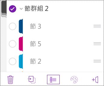 iOS 版 OneNote 中的 [重新命名節群組]