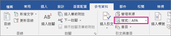 [參考資料] 索引標籤上醒目提示 [樣式 APA] 選項