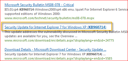 Microsoft 下載中心會自動搜尋與您所提供的更新編號相關的所有內容。 根據您的作業系統,選取 Windows XP 的安全性更新。