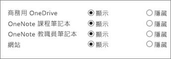 商務用 OneDrive、OneNote 課程筆記本、OneNote 教職員筆記本及網站的系統管理中心清單,以及 [顯示] 或 [隱藏] 按鈕。