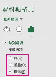 [資料標籤格式] 工作窗格顯示樹狀圖的選項
