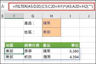 使用 FILTER 搭配乘號運算子 (*) 以傳回 (A5:D20) 陣列範圍中,擁有 Apples AND 且在 East 區域的所有值。