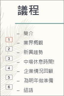 清單中各項目符號的動畫順序顯示在左側小方塊中