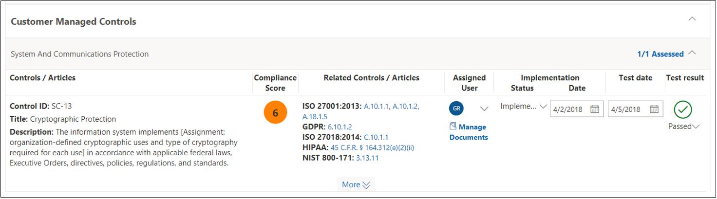 合規性管理員評定 - 已完成 NIST 800-53 SC(13)
