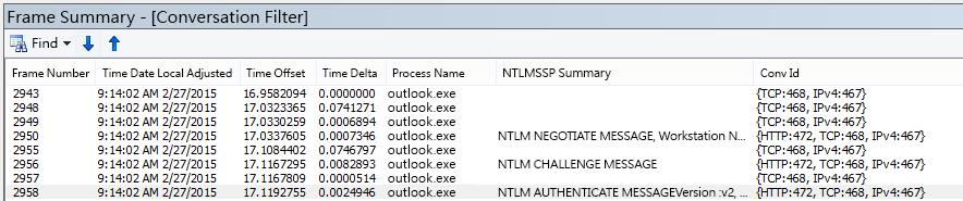 Netmon 追蹤顯示 Proxy 驗證,依交談篩選。