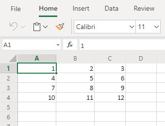 Excel data not formatted as a table
