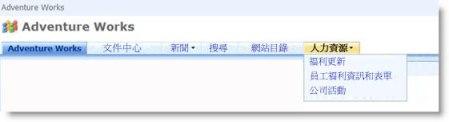 上方連結列中的下拉式功能表,其中顯示目前網站的子網站