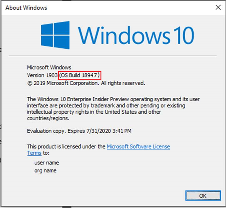 About Windows shows OS Build 18947