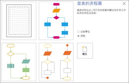 顯示範本和度量單位選項的 [垂直的流程圖] 畫面的螢幕擷取畫面。
