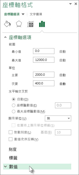 [座標軸格式] 窗格中的 [數值] 選項