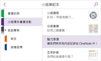 顯示頁面預覽的節窗格和頁面清單