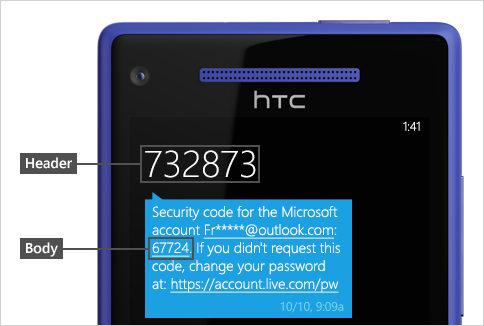 Text message with code.