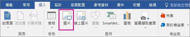 畫面上醒目提示 [插入] 索引標籤上的 [圖片] 圖示。