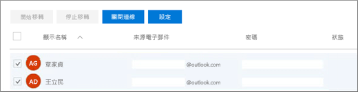 所有列出的使用者都會預先填入電子郵件